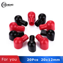 Vehemo 20Pcs Terminal Laarzen Ronde Zwart Rood Batterij Isolerende Covers Rubber Skins(China)