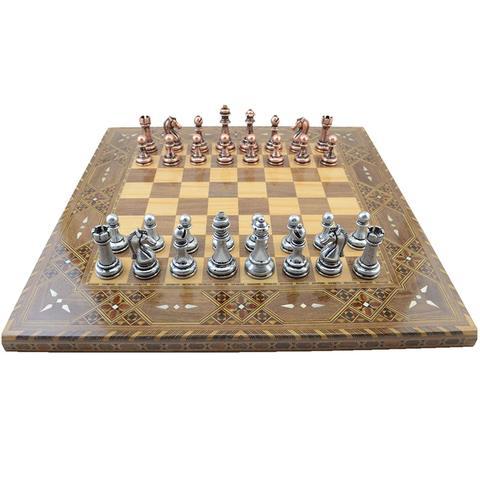 Conjunto de Xadrez de Cobre Placa de Xadrez de Madeira Natural com Pérola Original em Torno do Rei da Placa Clássico Antigo Peças Artesanais Sólida 7 cm