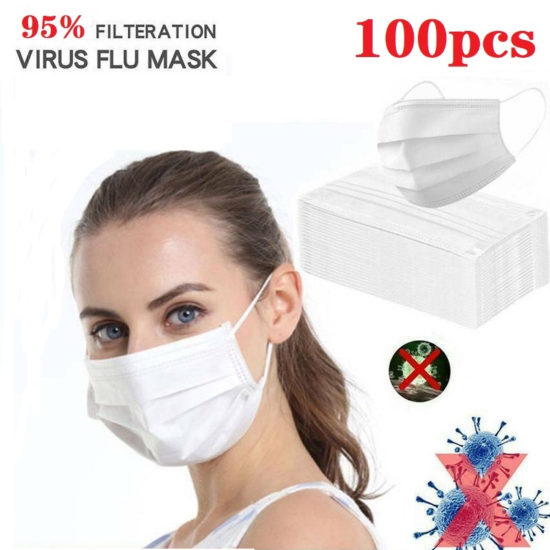 100Pcs Wholesale 3-Layers Masks Disposable Ear-loop Face Mouth Masks Dust-Proof Personal Protective Face Mask White Ear Loop