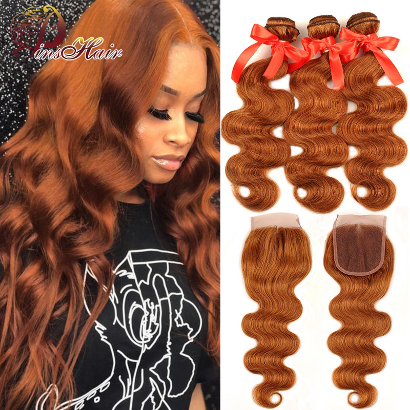 Colored 30 Honey Blonde Bundles With Closure Body Wave Peruvian Human Hair 3 Bundles With Closure Pinshair Remy Hair No Shedding