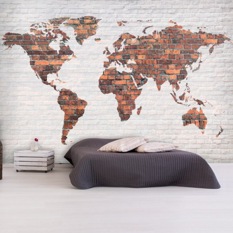 Photo Wallpaper-World Map: Brick Wall