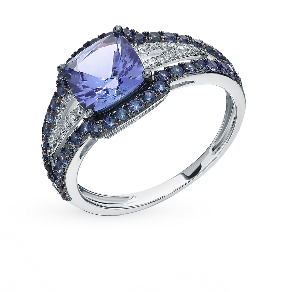 Gold Ring With Tanzanite, Sapphires And Diamonds Sunlight Sample 585