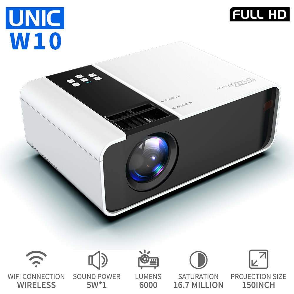 UNIC W10 LED 6000 Lumens Projector 1080P Full HD HDMI WIFI Movie Game Phone Sync Screen LCD Lens Beamer Android Proyector