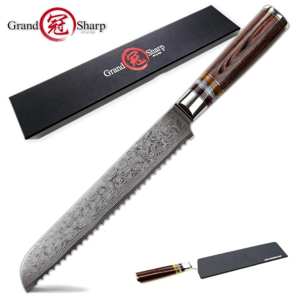 Bread Knife Japanese Damascus vg10 steel kitchen knives cake slicing tools bakery chef gadgets serrated blade japanese knives