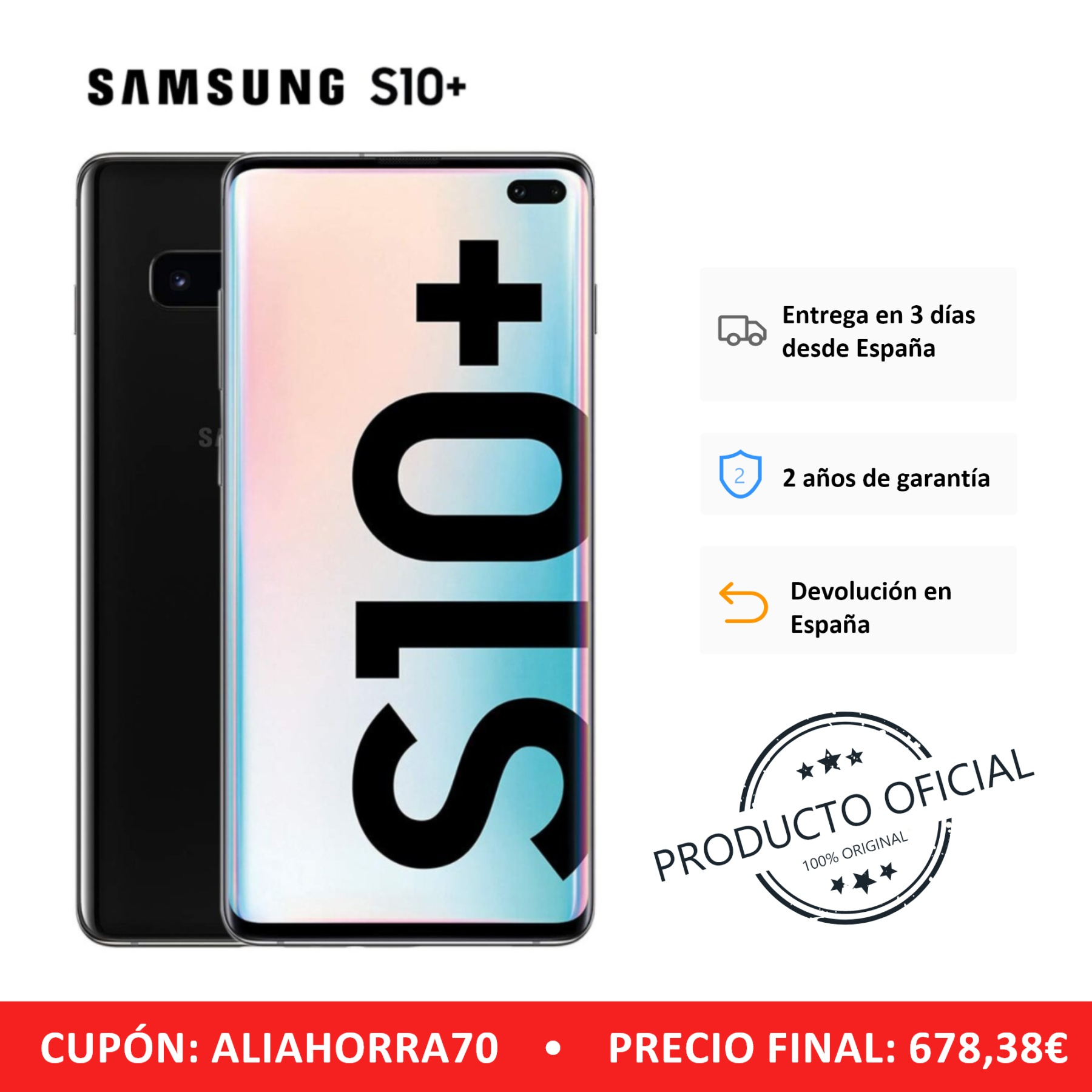 Samsung Galaxy S10 +, Band LTE/WiFi, Dual SIM, Black Color (Black), 12 8GB Memoria Interna, 8GB RAM, Screen D