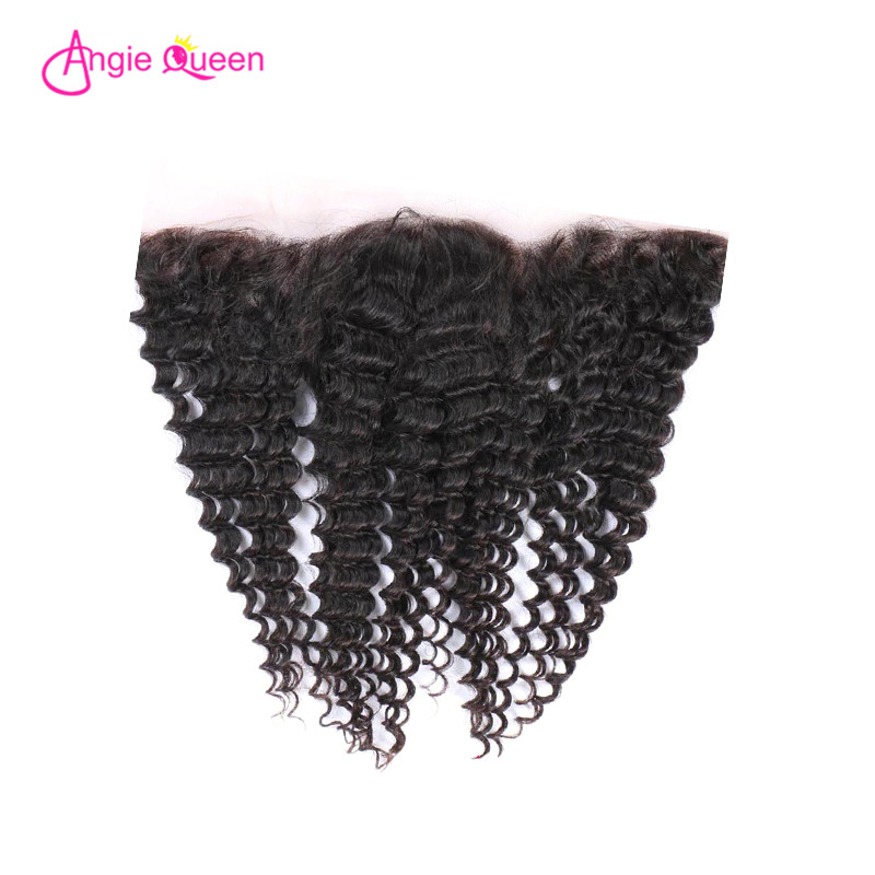 ANGIE QUEEN Brazilian Hair Frontal Kinky Curly Hair Frontal Human Hair Lace Frontal 150% Lace Frontal 8-20 Inches Free Part