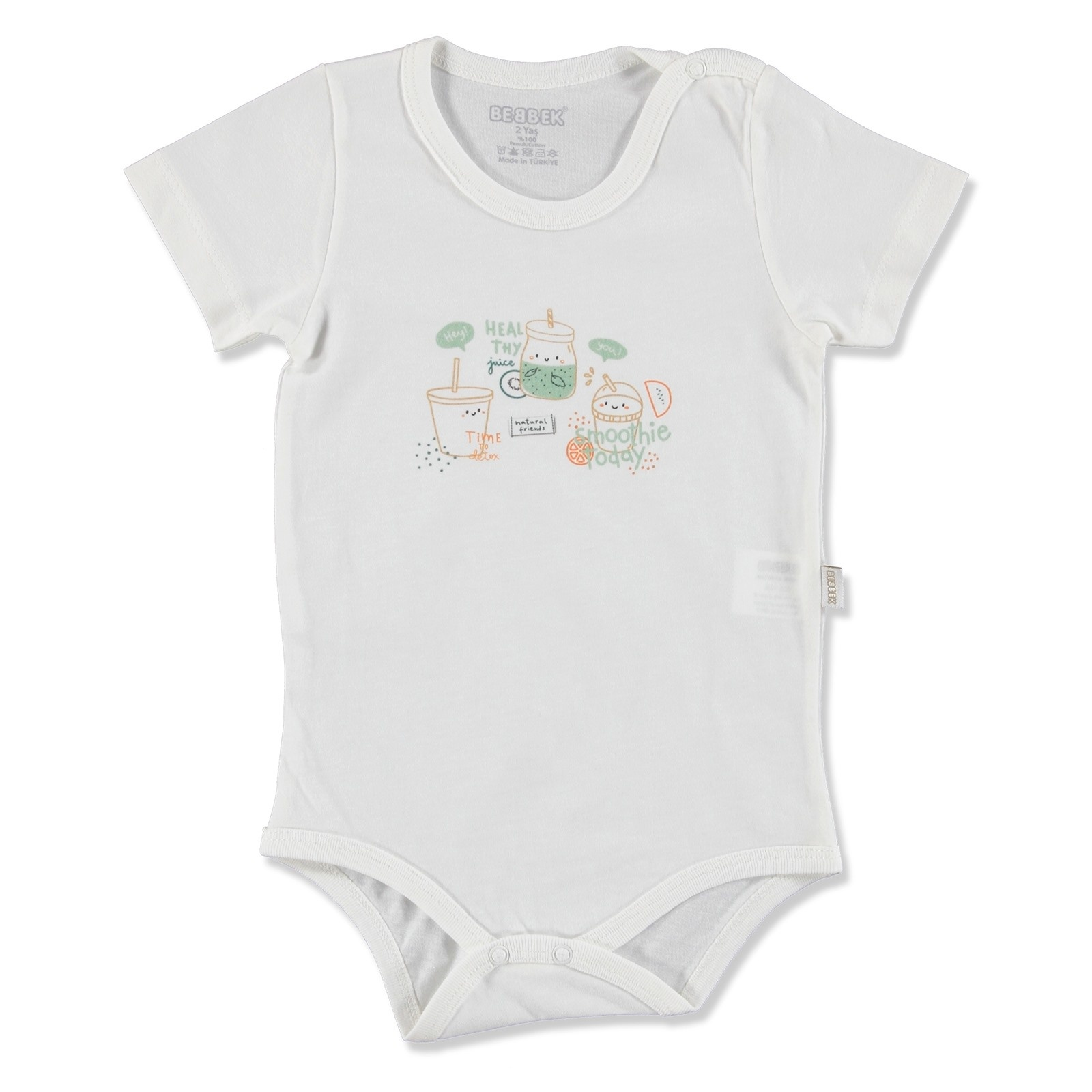 Ebebek Bebbek Summer Baby Boy Natural Crew-Neck Bodysuit