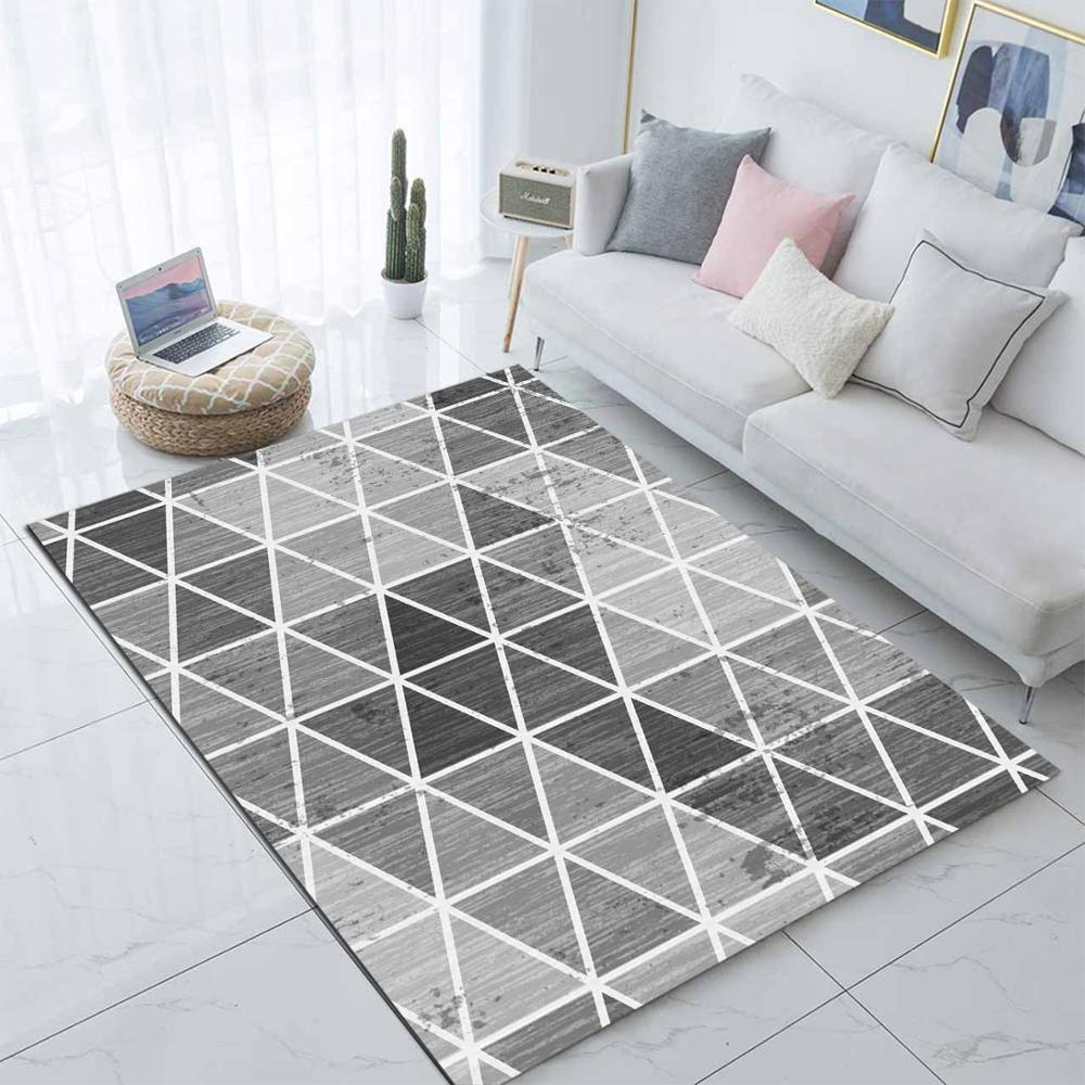 Else Black Gray Triangles Geometric Nordec  3d Print Non Slip Microfiber Living Room Modern Carpet Washable Area Rug Mat