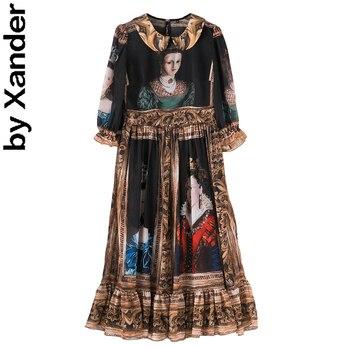 2020 spring summer runway new women dress queen oil prainting vintage half sleeve floral lady dress high quality