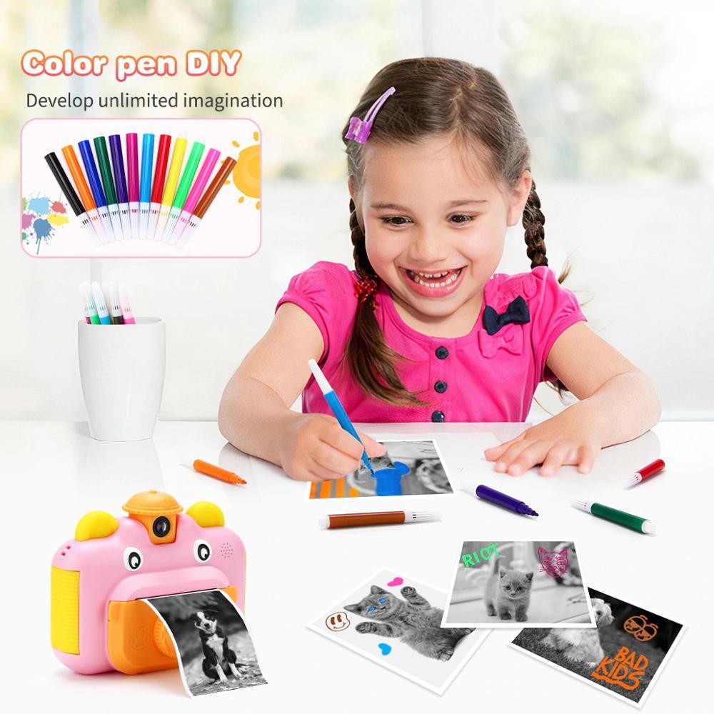 Crianças câmera de impressão instantânea câmera para crianças 1080p hd câmera de vídeo foto brinquedos com cartão 32gb 2