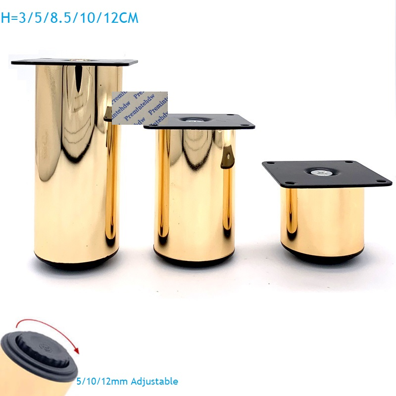 4Pcs/Lot Dia.50mm Rose Gold Furniture Feet Leg With Leveling Feet Bath Cabinet Cupboard TV Cabinet