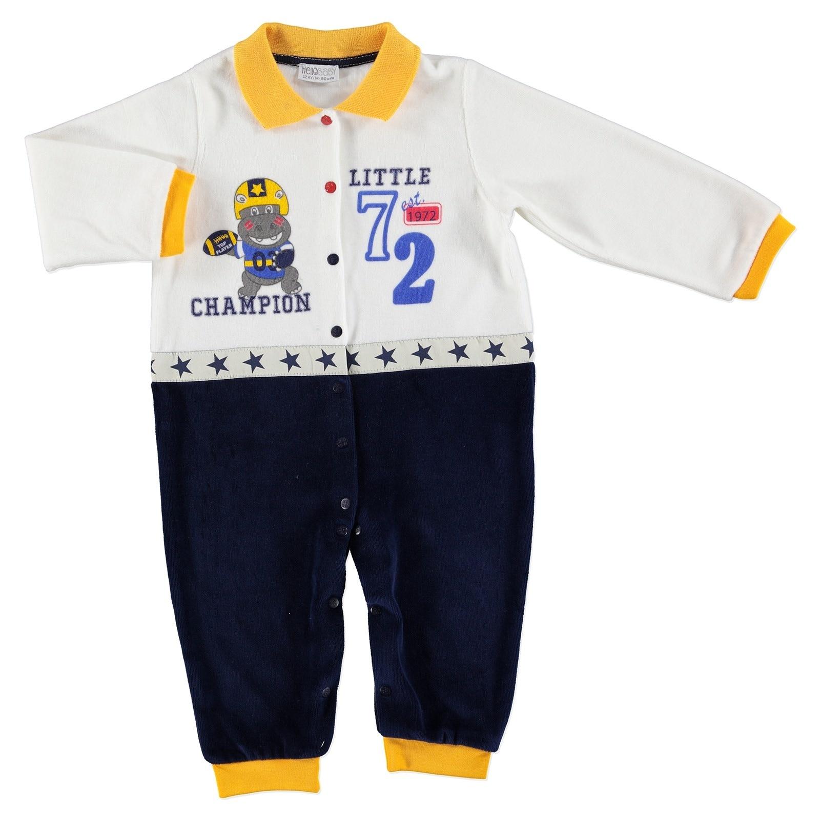 Ebebek HelloBaby Little Champion Baby Velvet Footless Romper