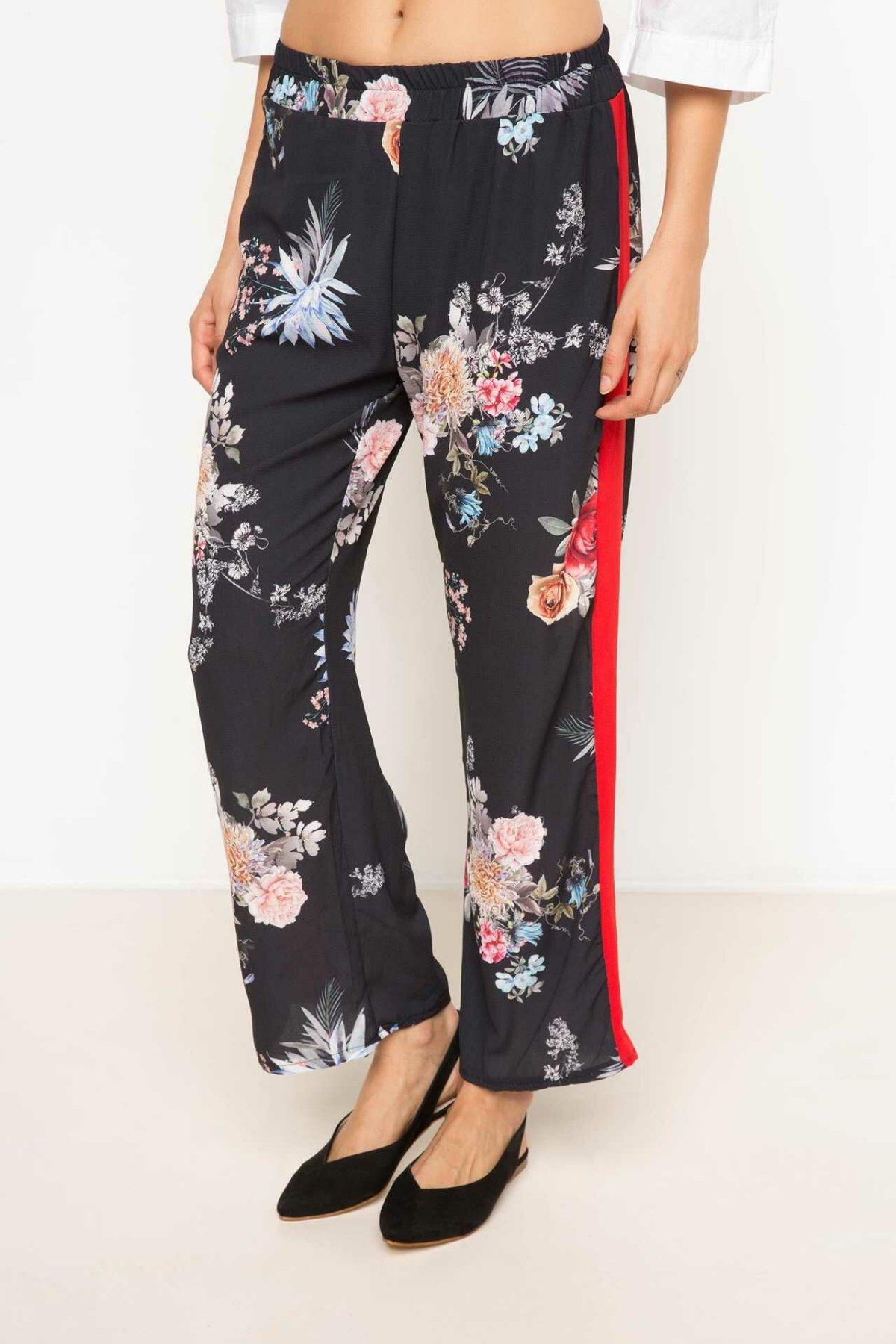 DeFacto Woman Floral Prints Long Pants Women Casual Loose Bottoms Female Elastic Black Trousers-I0284AZ17HS