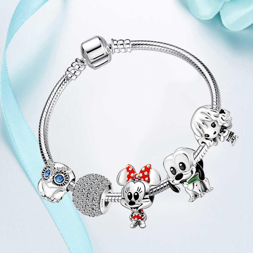 2020 yeni karikatür Mickey Charm DIY boncuk Fit kadınlar charms gümüş 925 orijinal bilezik hediyeler 925 ayar gümüş takı yapımı