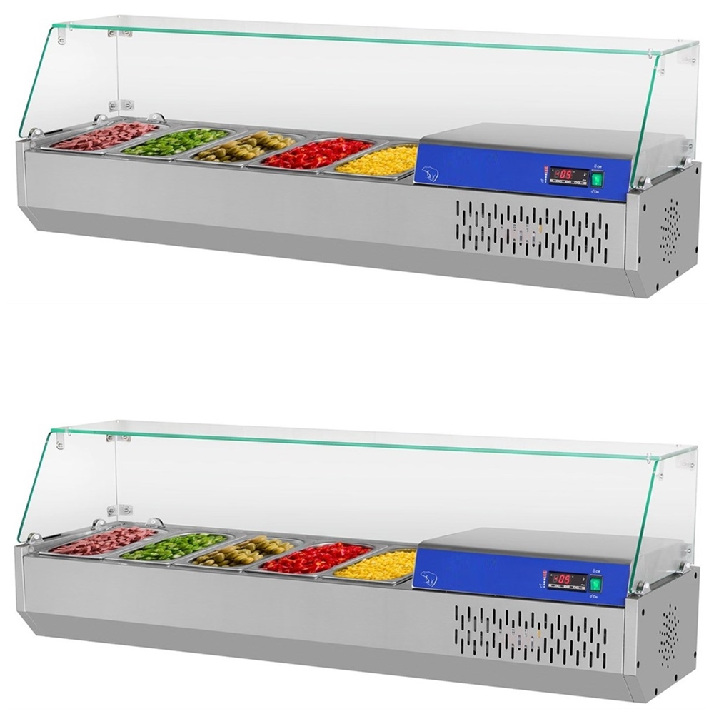 Commercial Countertop Refrigerated Buffet Catering Food Display Sandwiches Pizza Prepare Working Bench Work Table Salad Bar BEST