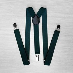 Pants suspenders narrow (2.5 cm, 3 clips, green) 54162