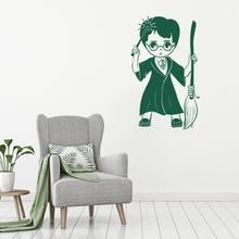 Autocollants Design Harry Poter Chibi pour enfants, étiquette amovible, décoration artistique murale de la maison et de la chambre à coucher, A001166
