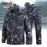 Männer Sets Militär Frühjahr Herbst Revers Lange Hülse Kleidung Schwarz Python Mantel Jagd Arbeit Kampf Tragen-Beständig Overalls Anzüge