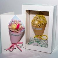 Greeting Card of white cardboard 3D independent gift and addition to gift Flowers Dried Flowers Bouquet natural colors