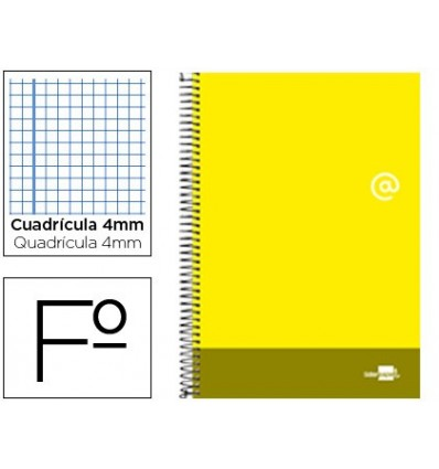 SPIRAL NOTEBOOK LEADERPAPER FOLIO DISCOVER SOFTCOVER 80H 80GSM FRAME 4MM MARGIN YELLOW 5 Pcs