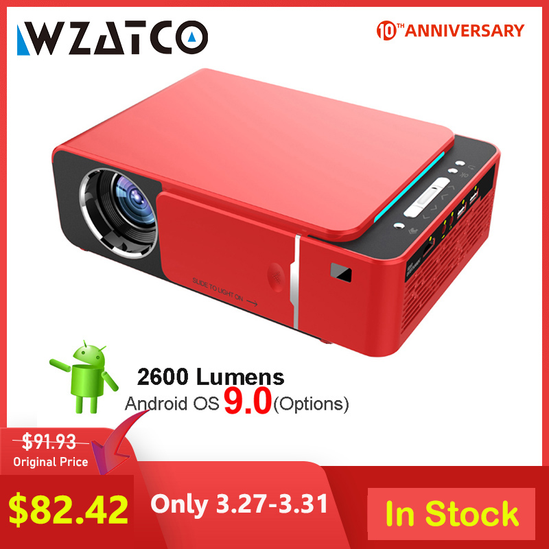 WZATCO T6 Android 9.0 WIFI Optional 3000lumen 720p HD Portable LED Projector HDMI Support 4K 1080p Home Theater Proyector Beamer