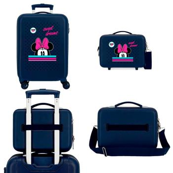 Suitcase + cosmetic bag Minnie Sweet Dreams 55cm. ABS trolley with wheels, suitcase + wash bag travel rigid FREE SHIPPING log cabin suitcase man spider dimensions 55x38x20cm free shipping