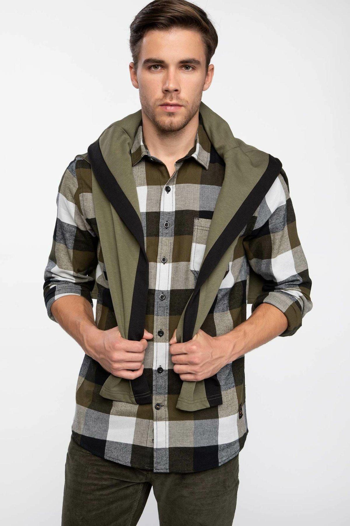 DeFacto Man Fashin Cotton Shirts Men Spring Pockets Long Sleeve Shirt Male Green Black Plaid Casual Tops - J2906AZ18WN