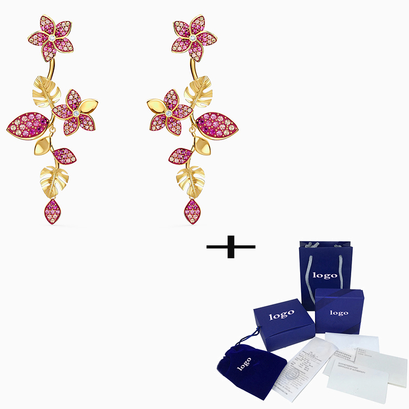 SWA 2020 New Fashion High Quality Singular Leaves Flowers Pink Tropical Flower Pierced Earrings For Wife,  Mother's Day Gift