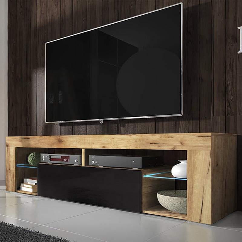 SELSEY BIANKO- Meuble TV  (140 cm, chêne lancaster / noir brillant - avec LED )