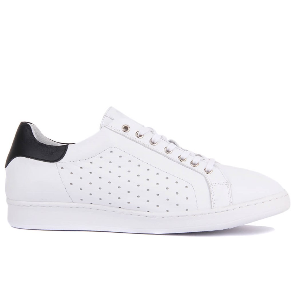 Sail-Lakers Genuine Leather White Staples Male Sneaker