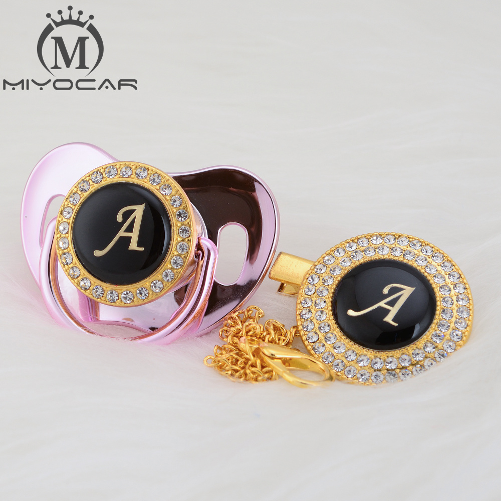 MIYOCAR Colorful Initials Letter A Beautiful Bling Pacifier And Pacifier Clip BPA Free Dummy Bling Unique Design LA
