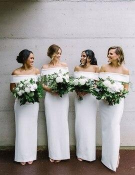 Off shoulder floor length satin sheath bridesmaid dress