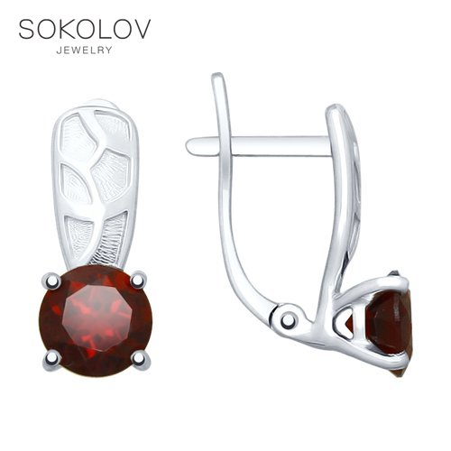 SOKOLOV Silver Drop Earrings With Stones With Stones With Stones With Stones With Stones With Stones With Stones With Stones With Garnets Fashion Jewelry Silver 925 Women's Male