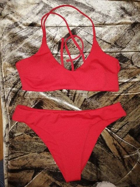 RXRXCOCO Sexy Bandage Bikini 2021 Swimsuit Swimwear Women Thong Push Up Bikinis Set women's swimming suit Biquini Bathing Suit|Bikini Set|   - AliExpress