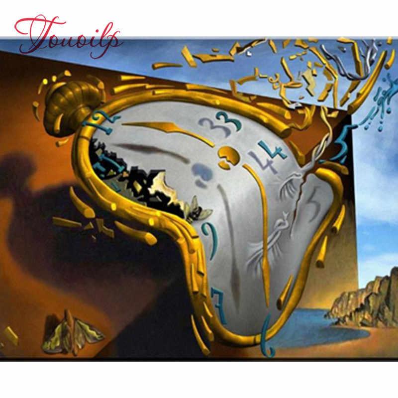 5D DIY Diamant stickerei Salvador Dali Uhr diamant malerei Kreuz Stich voll platz & Strass mosaik dekoration geschenk