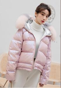 Image 5 - Down jacket woman 2019 fox fur real big fur collar winter coat silver pink bright face short coat woman