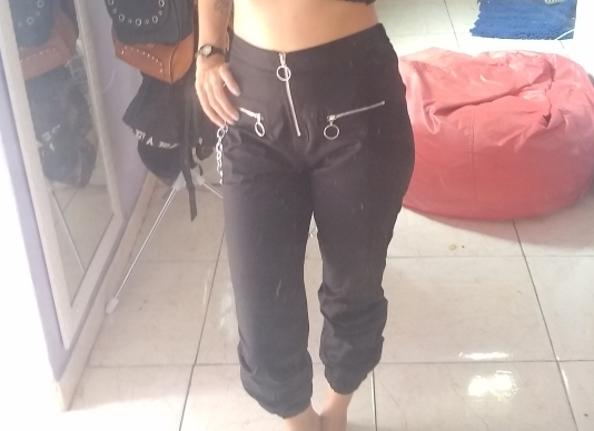 Cargo gothic pants with chain Pastel gothic E-girl photo review
