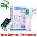 Пульсоксиметр на кончик пальца, цифровой прибор для измерения пульса и уровня кислорода в крови, SPO2 PR, с инфракрасным термометром