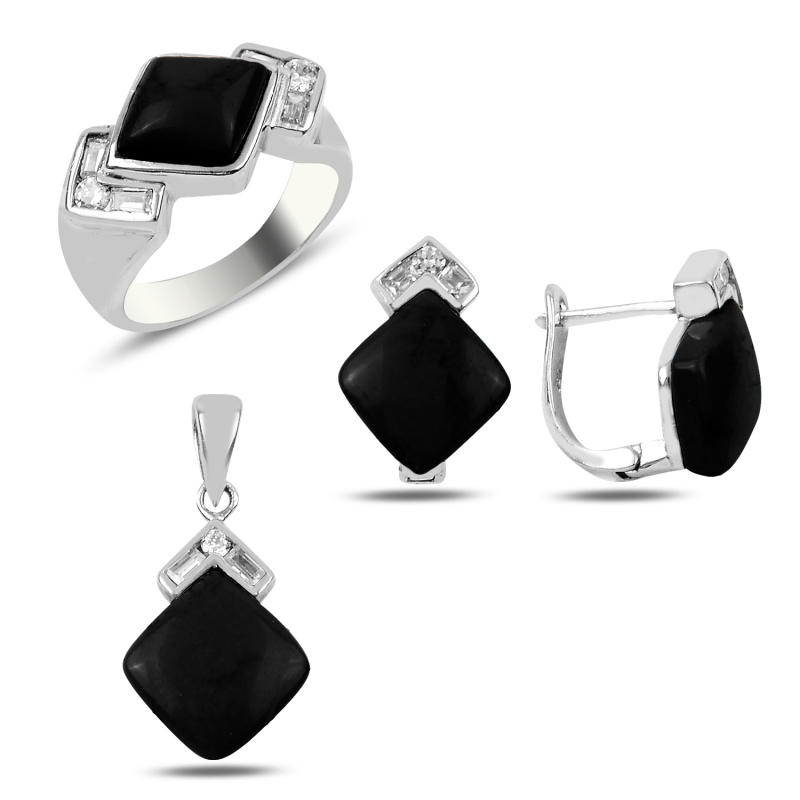 Silver 925 Sterling Onyx & Zircon Crystal Set