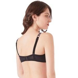 Image 2 - MiaoErSiDai Floral Print Strapless Bra Women Bralette Lace Stitch Balconette Bra Adjustable Straps Push Up Sexy Girls Underwear