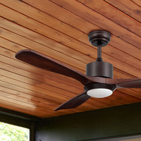 TECHBREY Ceiling Fan with Wooden Forest Light LED CCT Selectable 70W RF remote control LED lamp 15W selectable 2700K 6500K