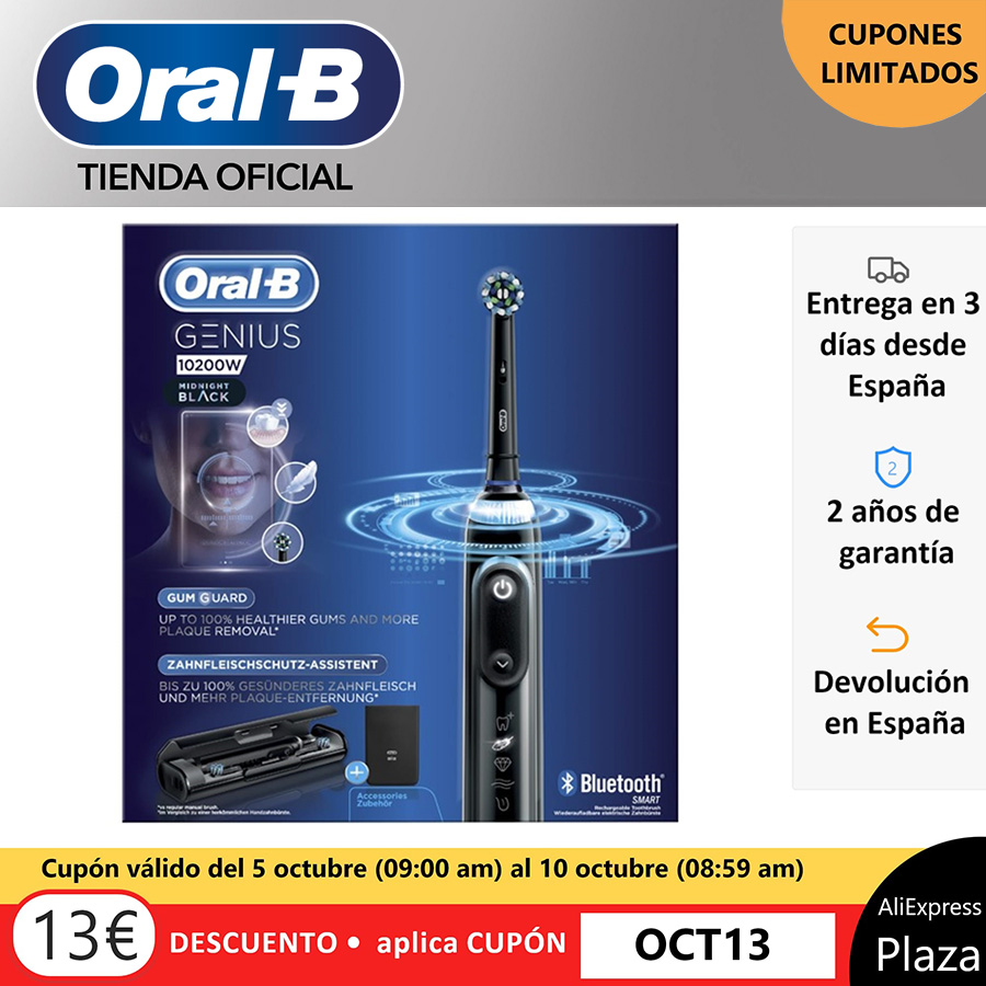 Oral B Genius 10200W, rechargeable electric toothbrush, charge indicator, up to 14 days, 4 brushed modes, 2 heads