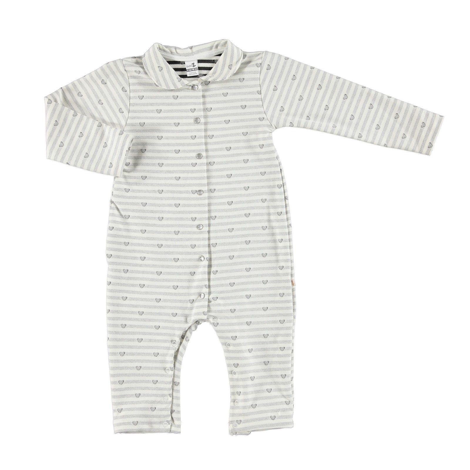 Ebebek BabyZ Heart Button Detail Footless Romper