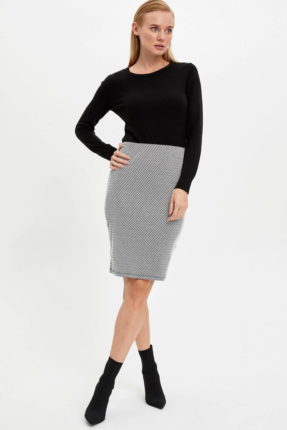 DeFacto Skirt Woman Office Plaid Pattern Pencil High Waist Skirts  Skinny Sexy Midi Skirt Womens Autumn Winter New - M1088AZ19AU