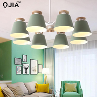 Lamp chandeliers For Living Room bedroom Lighting grey/green/blue/yellow/pink body Wooden Hanging Light Lampshade Kitchen Lights