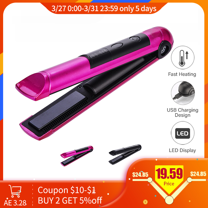 PRITECH Portable USB Recharging Professional Mini Hair Straightener LED Display Cordless Hair Flat Iron Hairs Tool Chapinha
