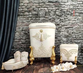 White Bathroom Chest Bathroom Basket Gold Color Embroidered