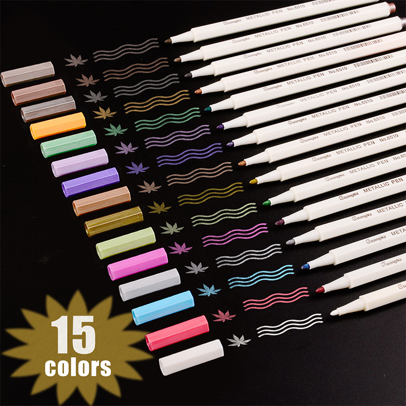 For Metallic Marker Pens 10 12 15 20 30 Colors For Adult Coloring Books Art Rock Painting Card Making DIY Scrapbook Brush Marker