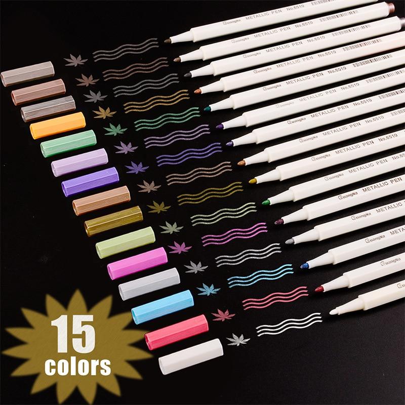 For Metallic Marker Pens 10 12 15 20 30 Colors For Adult Coloring Books Art Rock Painting Card Making DIY Scrapbook Brush Marker