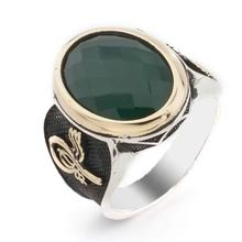 925 Sterling Silver Green Zircon Stone Tuğra Detailed Male Ring()